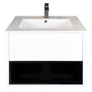 Ikou Midtown Bathroom Vanity with Single Sink in White - 24-in