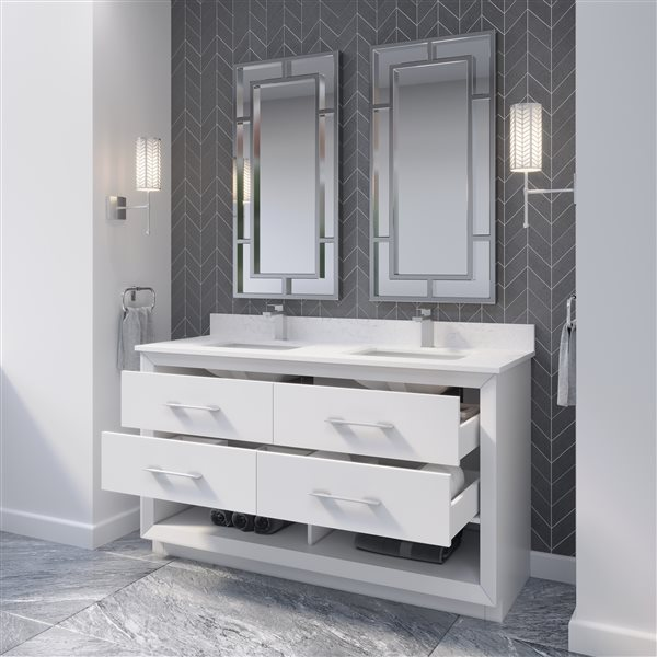Ikou Riley Double Sink White Bathroom Vanity with Power Bar & Drawer Organizer 60-in