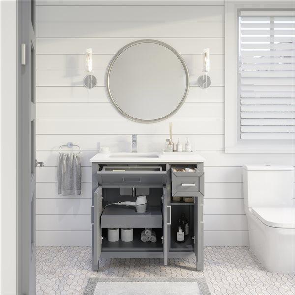 Ikou Thomas Single Sink Grey Bathroom Vanity with Power Bar & Drawer Organizer 36-in