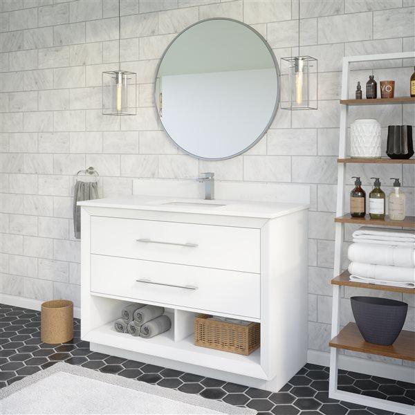 Ikou Riley Single Sink White Bathroom Vanity with Power Bar & Drawer Organizer 48-in
