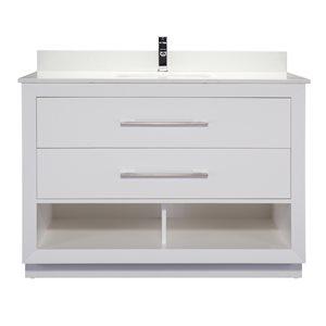 Meuble-lavabo simple Riley de Ikou pour salle de bain, barre d'alimentation et organisateur de tiroirs, blanc, 48 po