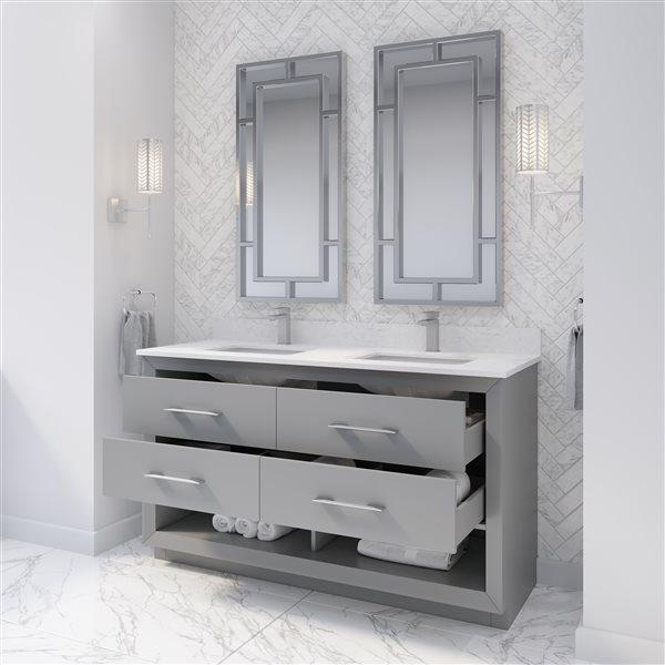 Ikou Riley Double Sink Grey Bathroom Vanity with Power Bar & Drawer Organizer 60-in