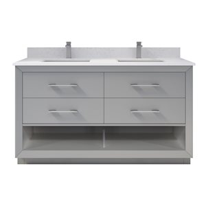 Ikou Riley Double Sink Grey Bathroom Vanity with Power Bar & Drawer Organizer 60-in