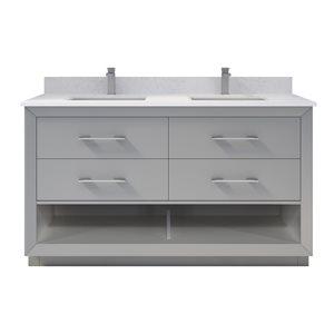 Meuble-lavabo double Riley de Ikou pour salle de bain, barre d'alimentation et organisateur de tiroirs, gris, 60 po