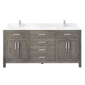 Ikou Kate Double Sink Grey Bathroom Vanity with Power Bar and Drawer Organizer 72-in