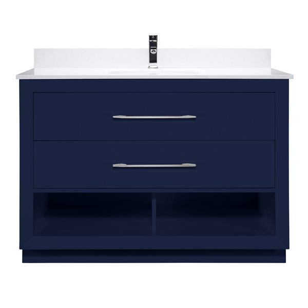 Ikou Riley Single Sink Blue Bathroom Vanity with Power Bar & Drawer Organizer 48-in