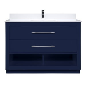 Ikou Riley Single Sink Blue Bathroom Vanity with Power Bar & Drawer Organizer 48-in