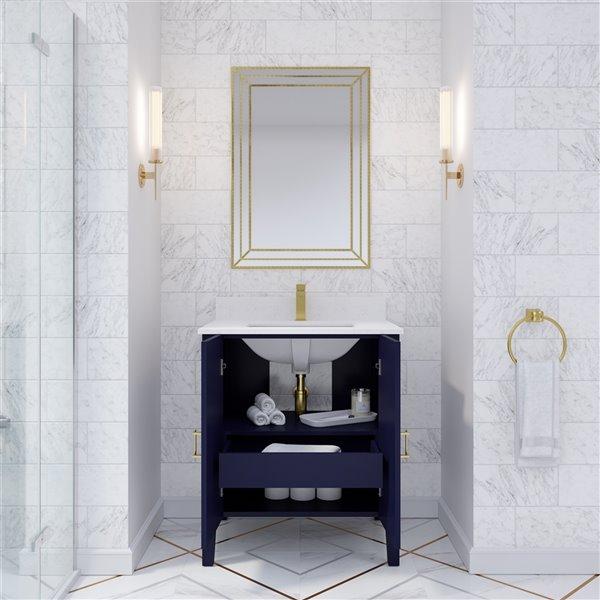 Ikou Hayden Bathroom Vanity with Single Sink - Navy Blue - 30-in