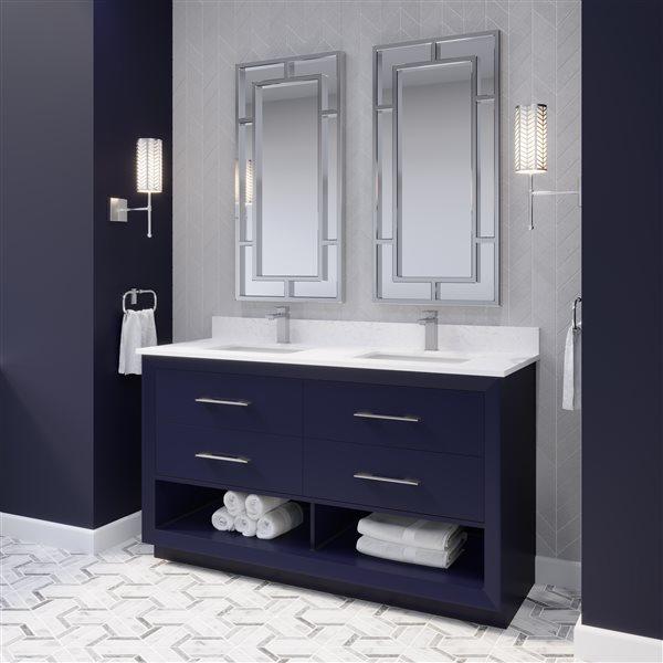 Ikou Riley Double Sink Blue Bathroom Vanity with Power Bar & Drawer Organizer 60-in