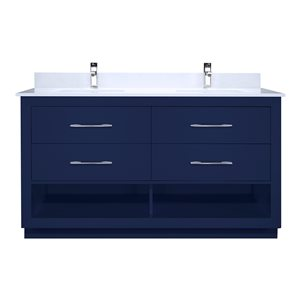 Ikou Riley Double Sink Blue Bathroom Vanity with Power Bar & Drawer Organizer 60-in