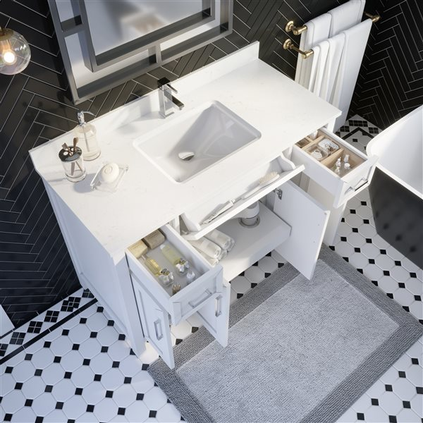 Ikou Thomas Single Sink White Bathroom Vanity with Power Bar & Drawer Organizer 48-in