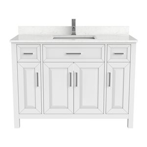 Ikou Thomas Single Sink White Bathroom Vanity with Power Bar & Drawer Organizer 48-in