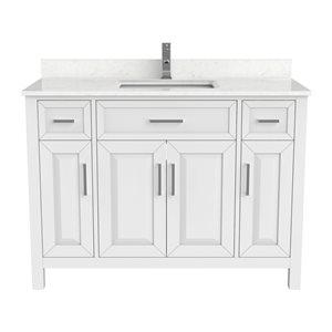 Meuble lavabo simple Thomas de Ikou pour salle de bain, barre d'alimentation et organisateur de tiroirs, blanc, 48 po