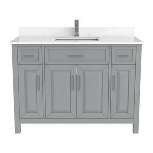 Meuble lavabo simple Thomas de Ikou pour salle de bain, barre d'alimentation et organisateur de tiroirs, gris, 48 po