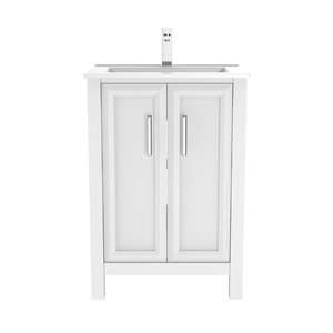 Ikou Hero Bathroom Vanity with Single Sink in White - 24-in