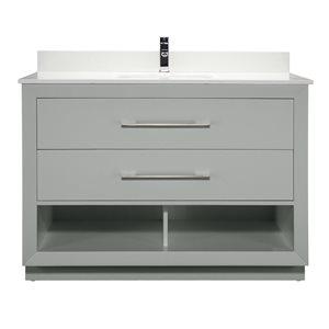 Meuble-lavabo simple Riley de Ikou pour salle de bain, barre d'alimentation et organisateur de tiroirs, gris, 48 po