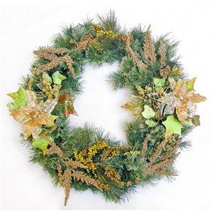 Henryka Decorated Indoor/Outdor Wreathe - 30-in - Golden Decorations & Berries