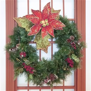 Henryka Decorated Indoor/Outdor Wreathe - 30-in - Poinsettia