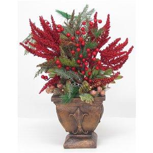Centre de table décoratif Henryka, 22 po, baies rouges