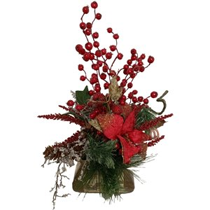 Henryka Decorative Table Setting - 13-in - Red Flowers