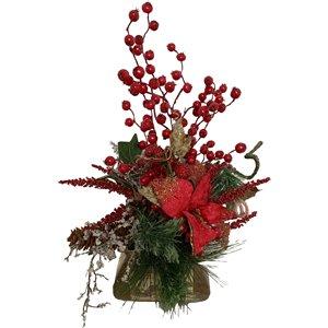 Centre de table décoratif Henryka, 13 po, fleurs rouges