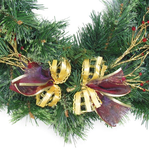 Couronne décorée intérieure/extérieure Henryka, 30 po, fleurs rouges et boucles dorées