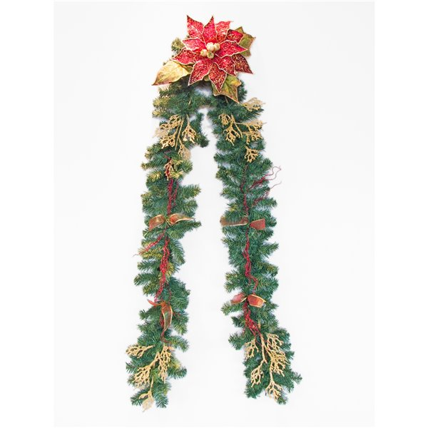 Henryka Decorated Holiday Garland - 9-ft - Gold Picks