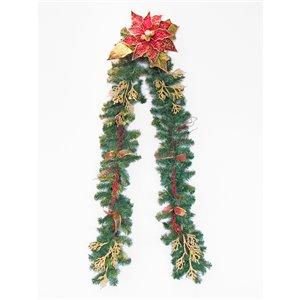 Guirlande décorée des fêtes Henryka, 9 pi, piquets dorées