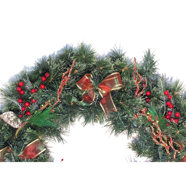 Henryka Decorated Indoor/Outdor Wreathe - 30-in - Red Berries & Multicoloured Bows