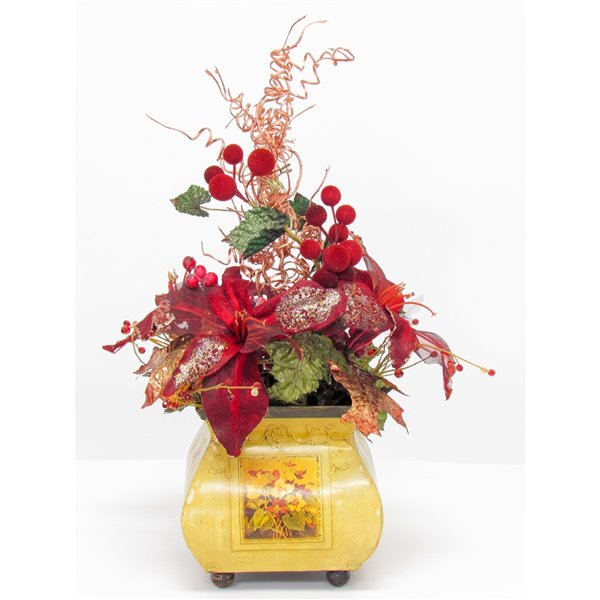 Henryka Decorative Table Setting - 16-in - Red Flowers