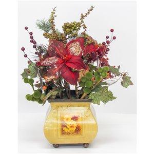 Centre de table décoratif Henryka, 16 po, fleurs rouges