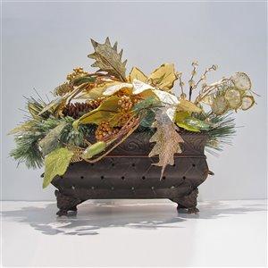 Centre de table décoratif Henryka, 14 po, fleurs dorées