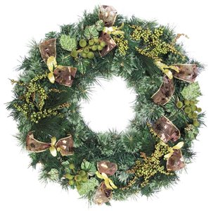 Henryka Decorated Indoor/Outdor Wreathe - 30-in - Green Berries