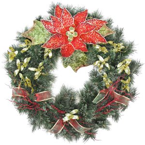 Henryka Decorated Indoor/Outdor Wreathe - 30-in - Red Poinsettia & Bows
