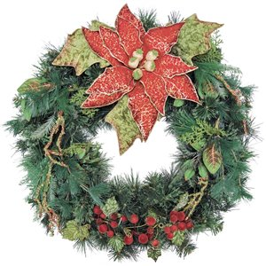 Henryka Decorated Indoor/Outdor Wreathe - 30-in - Large Poinsettia