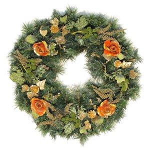 Couronne décorée intérieure/extérieure Henryka, 30 po, roses multicolores