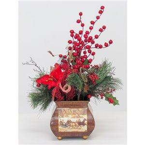 Centre de table décoratif Henryka, 20 po, baies rouges