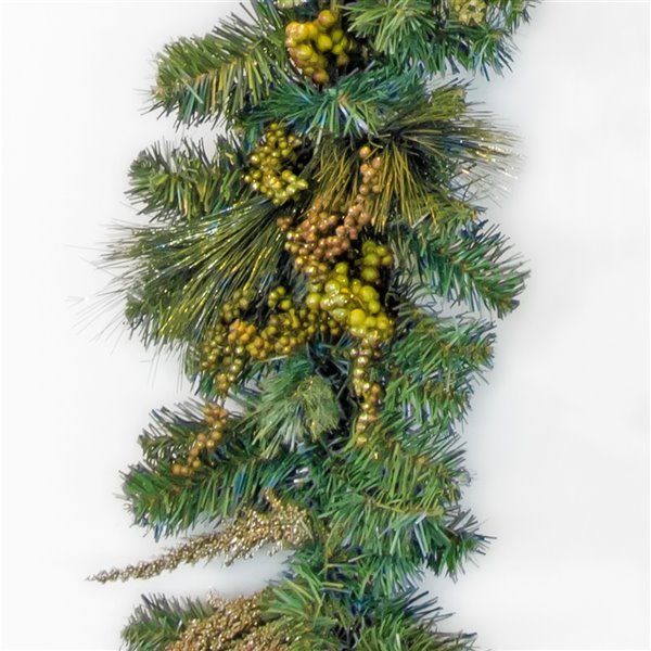 Henryka Decorated Holiday Garland - 9-ft - Gold Flowers