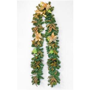 Guirlande décorée des fêtes Henryka, 9 pi, fleurs dorées