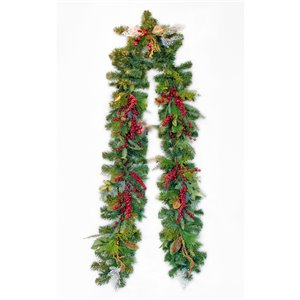 Henryka Decorated Holiday Garland - 9-ft - Red Berry Picks