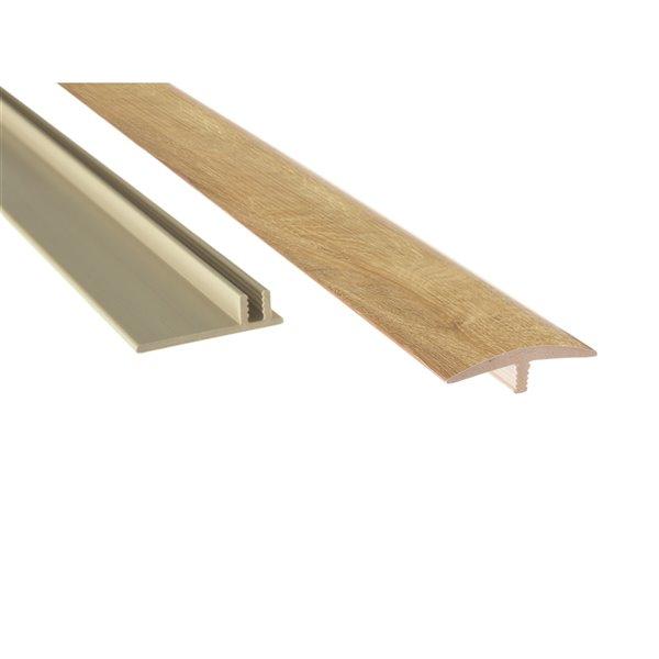 NewAge Products Luxury Vinyl Plank Flooring Bundle - T-Molding Transition Strips - 216 sq ft - Natural Oak
