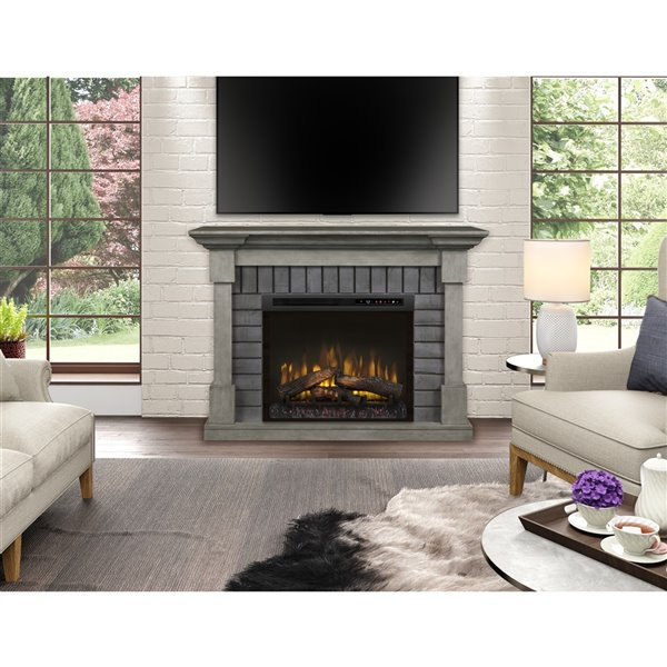 Dimplex Royce Mantel Electric Fireplace - Smoke Stack - 52-in