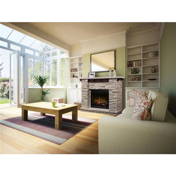 Dimplex Featherston 61-in Stone Wall Mantel Electric Fireplace