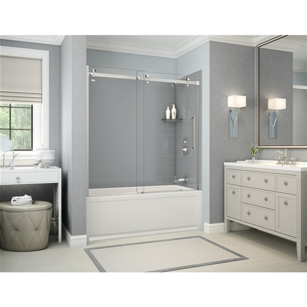 Utile by MAAX Metro Ash Grey Tub Shower Kit, Right Drain, Halo Chrome - 60-in x 32-in x 81-in