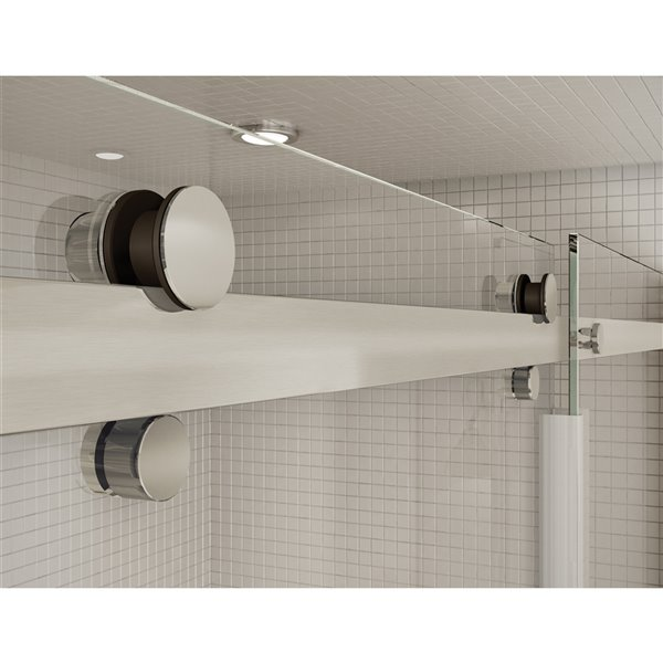 Utile by MAAX Marble Carrara Tub Shower Kit, Left Drain, Halo Brushed Nickel - 60-in x 32-in x 81-in