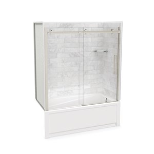 Utile by MAAX Marble Carrara Tub Shower Kit, Right Drain, Halo Brushed Nickel - 60-in x 32-in x 81-in