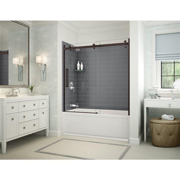 Utile by MAAX Metro Thunder Grey Tub Shower Kit, Left Drain, Halo Dark Bronze - 60-in x32-in x 81-in