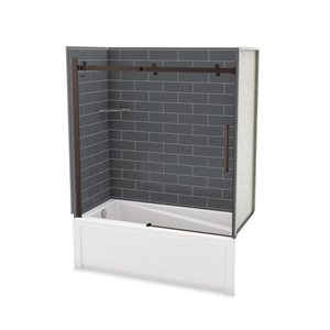 Utile by MAAX Metro Thunder Grey Tub Shower Kit, Left Drain, Halo Dark Bronze - 60-in x32-in x 81-in