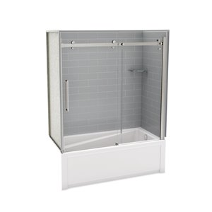 Utile by MAAX Metro Ash Grey Tub Shower Kit, Right Drain, Halo Brushed Nickel - 60-in x 32-in x 81-in
