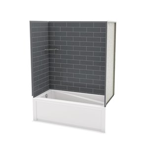 Utile by MAAX Metro Thunder Grey Tub Shower Kit, Left Drain - 60-in x 32-in x 81-in